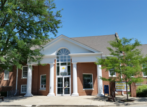 Front view of the Plainfield Public Library District building